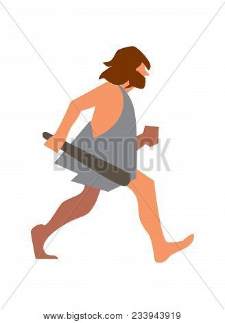 Stone age man with club going illustration isolated on white background. Caveman character in flat design. stock photo