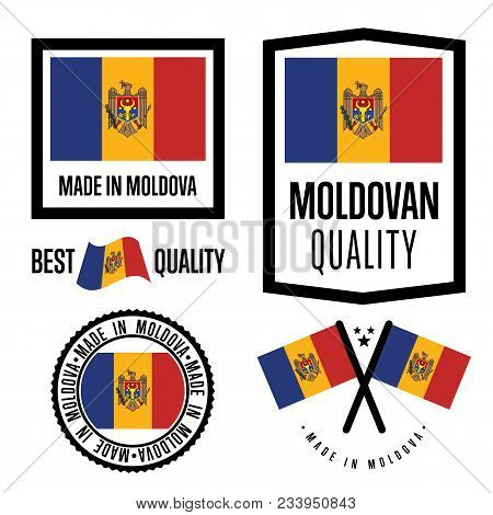 Moldova quality isolated label set for goods. Exporting stamp with moldovan flag, nation manufacturer certificate element, country product emblem. Made in Moldova badge collection. stock photo