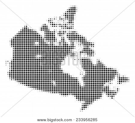 Canada Map halftone vector icon. Illustration style is dotted iconic Canada Map symbol on a white background. Halftone matrix is circle spots. stock photo