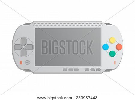 Mobile game console icon in cartoon style. Game gadget, cybersport digital device, keypad console, video game isolatedillustration. stock photo