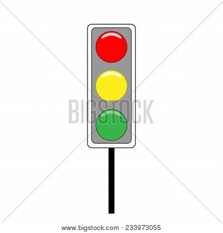 Stoplight sign. Icon traffic light on white background. Symbol regulate movement safety and warning. Electricity semaphore regulate transportation on crossroads urban road. Vector illustration. stock photo