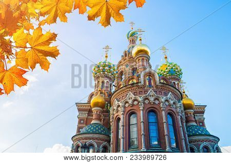 St Petersburg, Russia. Cathedral Of Our Savior On Spilled Blood In St Petersburg, Russia, Closeup Fa
