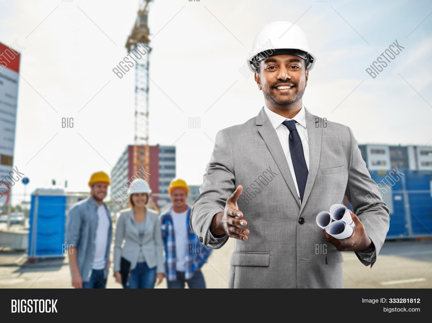 architecture, building business and people concept - smiling indian male architect in helmet with bl