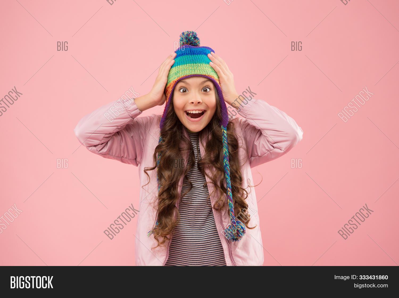 Playful Mood. Trendy Stylish Accessory. Kids Hats For Winter Season. Accessory Protect Head. Adorabl