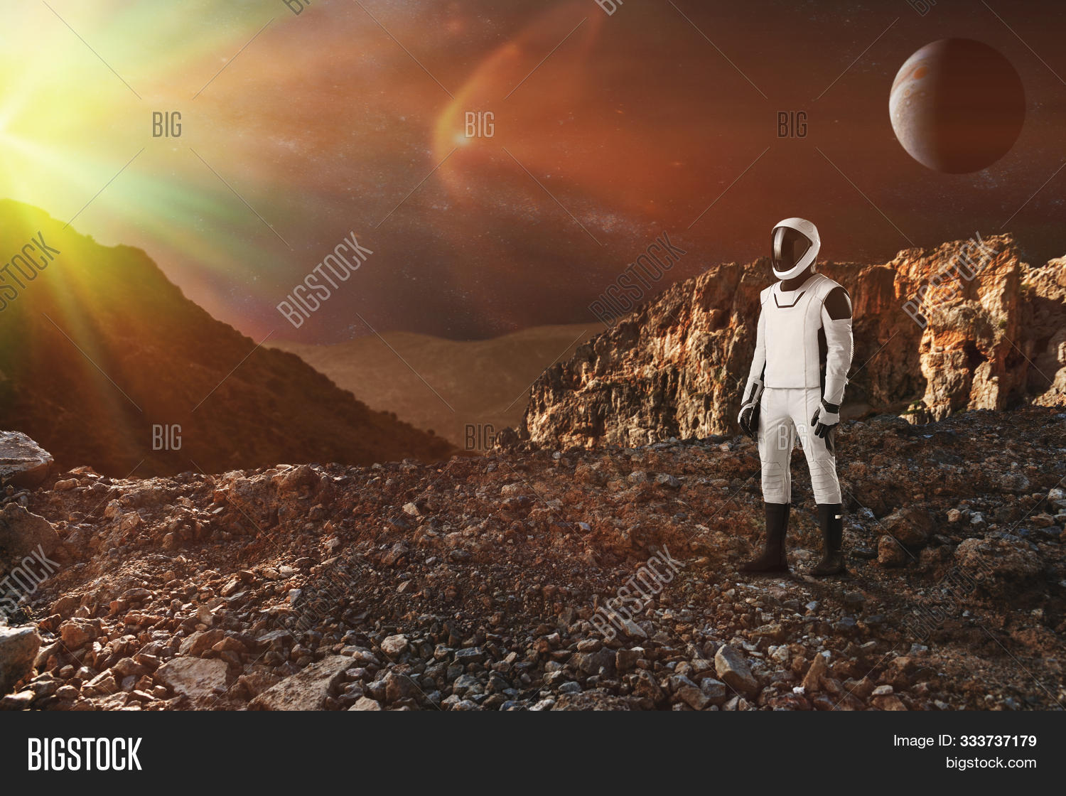 Spaceman Walks On The Alien Planet. Space Mission. Elements Of This Image Furnished By Nasa.