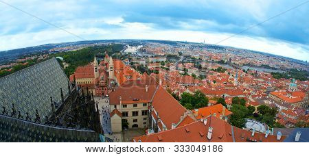 Prague aerial view of hradcany. Architecture and monuments. stock photo