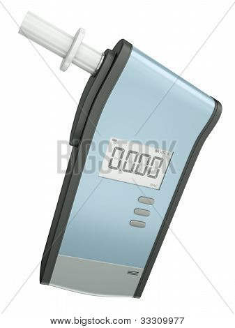 Breath analyzer for measuring blood alcohol content isolated on white background. 3D render. stock photo