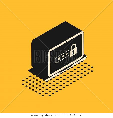 Isometric Laptop with password notification and lock icon isolated on yellow background. Security, personal access, user authorization, login form. Vector Illustration stock photo