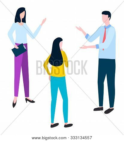 Brokers and hucksters, collaboration of colleagues. Stockbrokers or bill-brokers isolated. Vector arguing man and woman discussing business issues stock photo