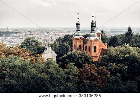 Cathedral of St Lawrence on Petrin hill. Prague, Czech Republic stock photo
