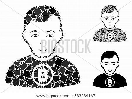 Bitcoin man mosaic of tremulant elements in various sizes and color hues, based on Bitcoin man icon. Vector tremulant elements are combined into collage. Bitcoin man icons collage with dotted pattern. stock photo