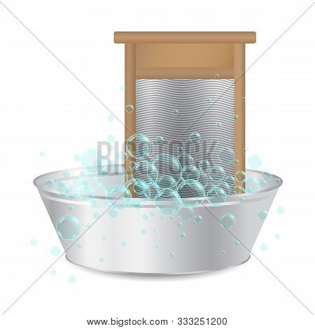 realistic ribbed hand washboard in metal basin for washing with soap bubbles isolated on white background. Laundry or hausework concept. 3D illustration. stock photo