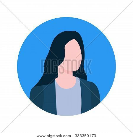 Faceless female online consultant profile view, executive worker economist character. Vector brokers face portrait in round frame isolated cartoon style woman stock photo