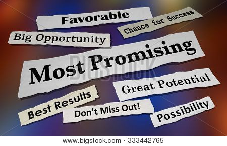 Most Promising Big Best Opportunity Potential Newspaper Headlines 3d Animation stock photo
