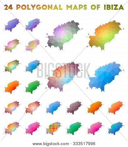 Set of vector polygonal maps of New Caledonia. Bright gradient map of country in low poly style. Multicolored New Caledonia map in geometric style for your infographics. stock photo