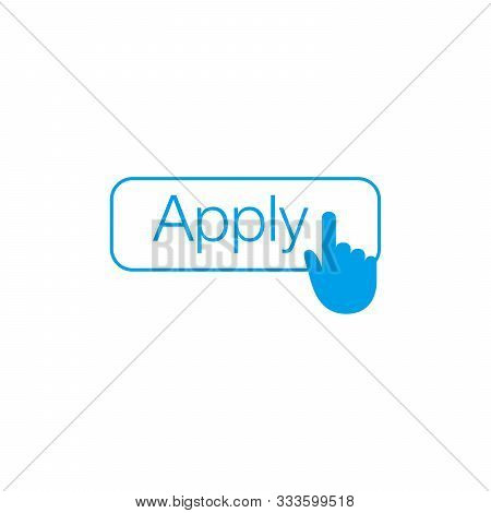 Apply button with hand cursor for web form submission, campaign participation banners, blogs, content updates and news feed. Stock Vector illustration isolated on white background. stock photo