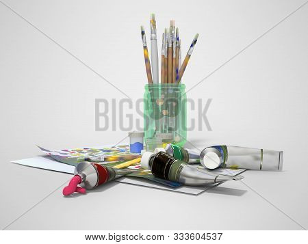 Set of artist tubes with paint brushes paper for drawing 3d rendering on gray background with shadow stock photo