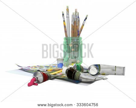 Set of artist tubes with paint brushes paper for drawing 3d rendering on white background no shadow stock photo