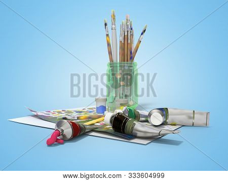 Set of artist tubes with paint brushes paper for drawing 3d rendering on blue background with shadow stock photo