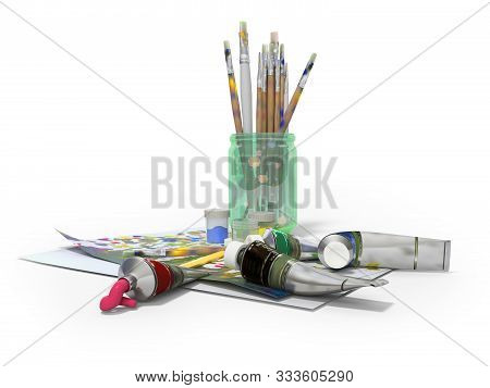 Set of artist tubes with paint brushes paper for drawing 3d rendering on white background with shadow stock photo