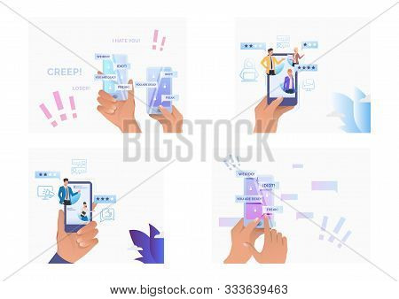 Set of people writing comments for service online. Flat vector illustrations of people commenting in mobiles, cursing, bulling. Evaluation concept for banner, website design or landing web page stock photo