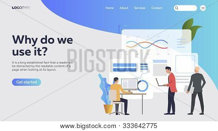 Businessmen working on computers and analyzing financial charts. Analysis, management, technology flat vector illustration. Business concept for banner, website design or landing web page stock photo