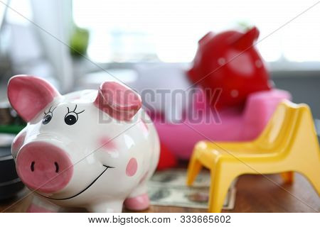 Funny piggy going away from couple pigs at couch stock photo