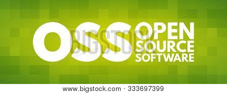 OSS - Open source software acronym, technology concept background stock photo