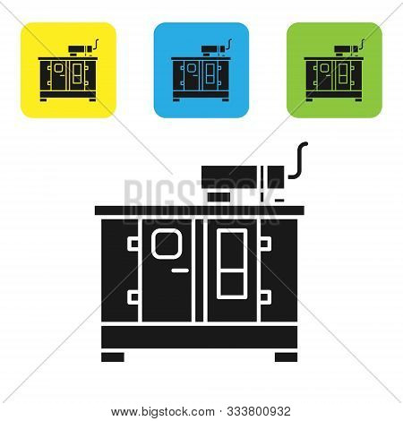 Black Diesel power generator icon isolated on white background. Industrial and home immovable power generator. Set icons colorful square buttons. Vector Illustration stock photo