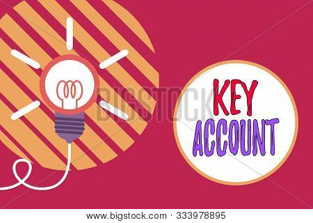 Text sign showing Key Account. Conceptual photo individual approach of sales showing to their customers Big idea light bulb. Successful turning idea invention innovation. Startup. stock photo