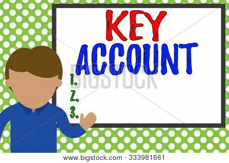 Word writing text Key Account. Business concept for individual approach of sales showing to their customers Young man standing in front whiteboard pointing to project. photo Art. stock photo