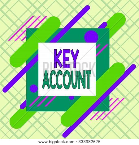 Writing note showing Key Account. Business photo showcasing individual approach of sales showing to their customers Asymmetrical format pattern object outline multicolor design. stock photo