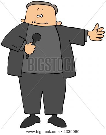 This illustration depicts a stand-up comic speaking into a microphone. stock photo