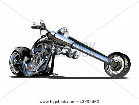 Vector Cartoon Motorbike. Available CDR-12, EPS-8 and AI-10 vector formats separated by groups and layers for easy edit. stock photo