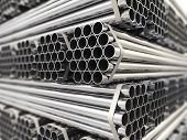 Metal channels. Steel industry foundation. Three-dimensional picture,