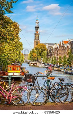 Western church and Prinsengracht canal in Amsterdam-Dishwasher Magnet Skin (size 24x24)