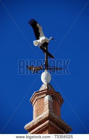 Stork on top of the tower of the Marquis of Benemeji Palace (Palacio dela Benameji) - now the Municipal Historical Museum Ecija Seville Province Andalusia Spain Western Europe. stock photo