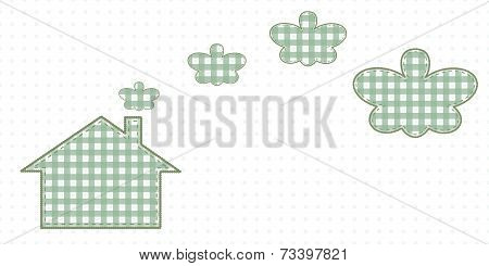 House and smoke resembling butterflies. Cute Baby Style Artwork. stock photo
