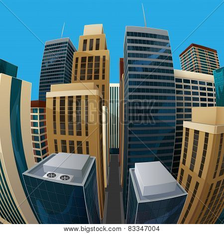 vector illustration of panoramic fisheye lens cityscape view. modern city with skyscrapers, business centers and other buildings. architectural composition with curvilinear perspective stock photo