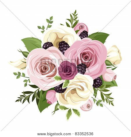 Vector bouquet of pink and white roses and lisianthus flowers, blackberries and green leaves isolated on a white background. stock photo