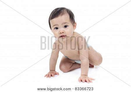 A Asian baby on a studio white background stock photo