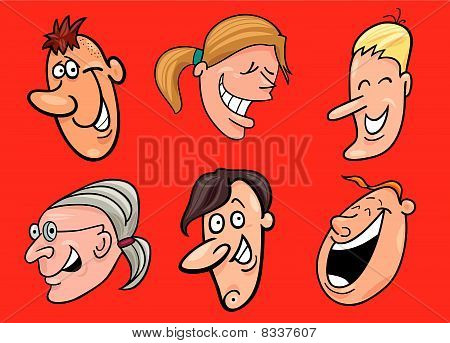 cartoon vector illustration of set of jolly faces stock photo