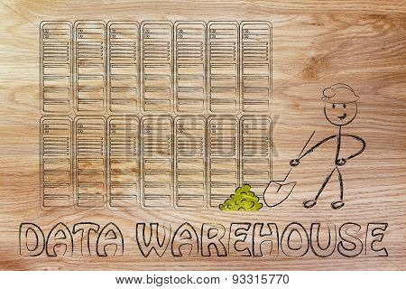 data warehouse and mining: metaphor of man extracting gold nuggets in a server room symbol of valuable data stock photo