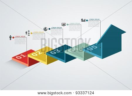 Infographic Design Template With Step Structure Up Arrow, Business Concept With 5 Options Pieces