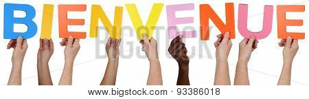 Multi ethnic group of people holding the French word bienvenue welcome isolated stock photo