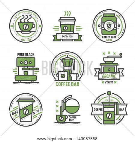 Label set for restaurant coffee monogram design. Vector cafe sign coffee monogram and restaurant symbol coffee badge. Retro food drink coffee monogram business menu badge shop sticker icon.