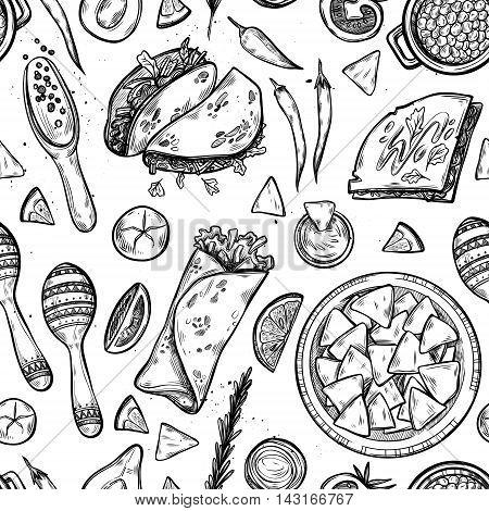 Hand drawn vector background - Mexican food (tacos nachos burritos chili pepper avocado sauce tomato maracas). Sketch. Seamless pattern stock photo