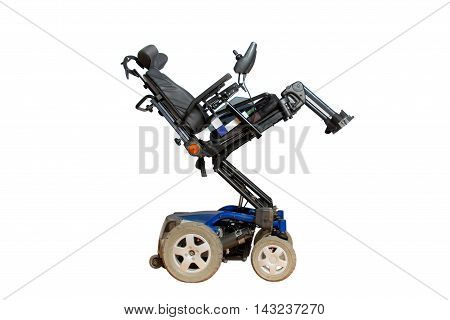 motorised wheelchair with basket for disabled people stock photo