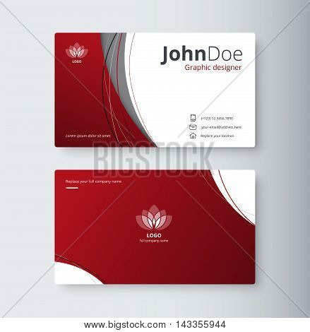 Curve abstract business card background. name card template. vector stock. stock photo
