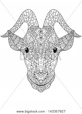 Goat head coloring book for adults vector illustration. Anti-stress coloring for adult. Zentangle style. Black and white pattern stock photo